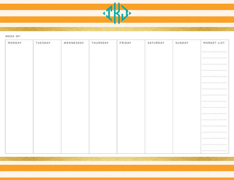 Clementine Classic Stripes Personalized Meal Planner Pad