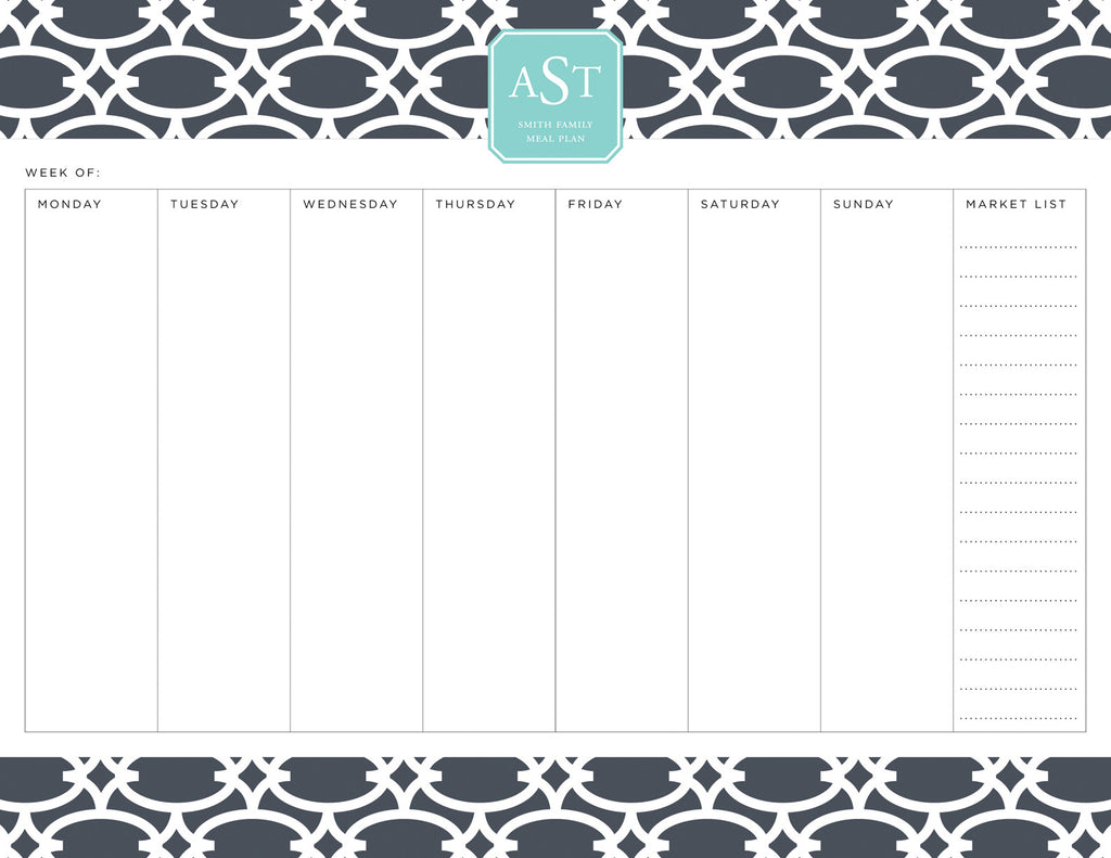 Charcoal Fretwork Personalized Meal Planner Pad