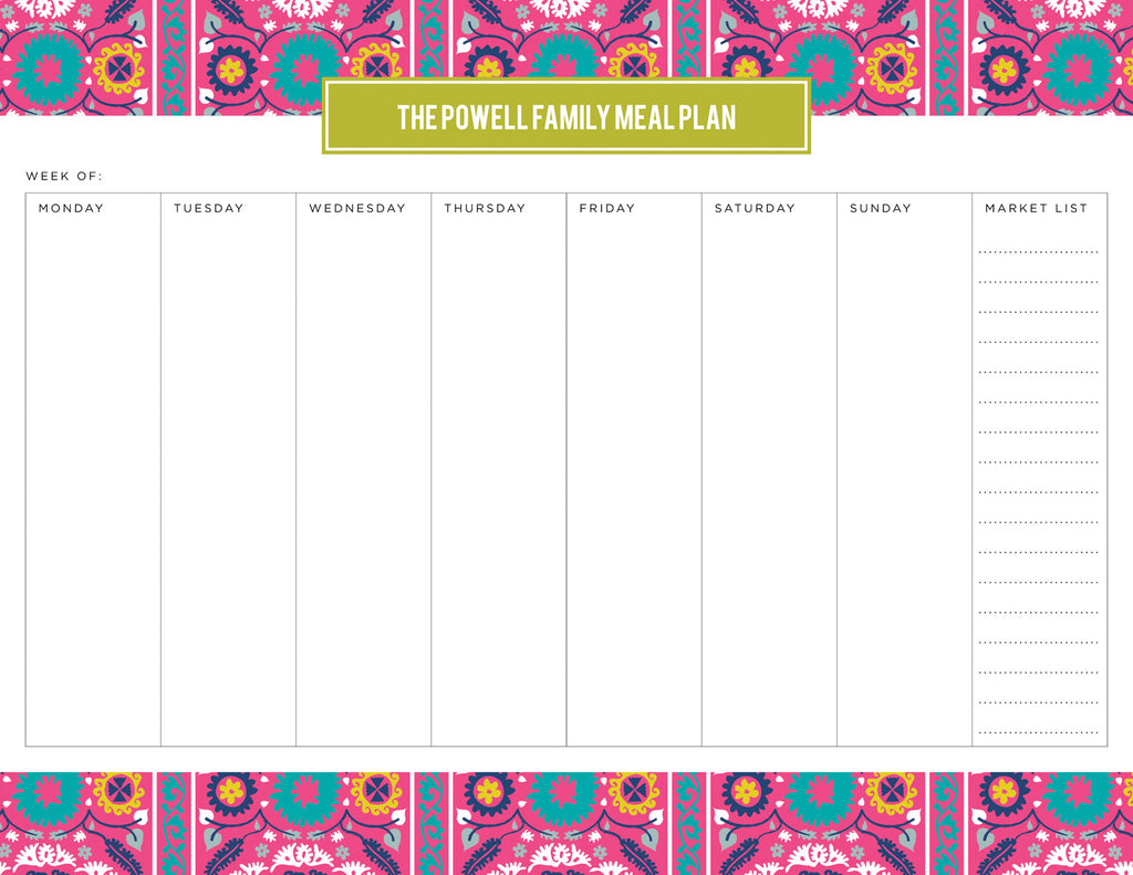 Peony Suzani Personalized Meal Planner Pad