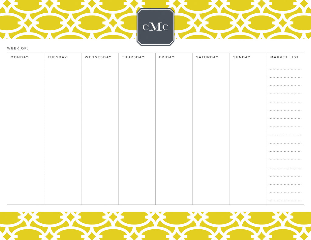 Fig Fretwork Personalized Meal Planner Pad