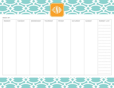 Mint Fretwork Personalized Meal Planner Pad