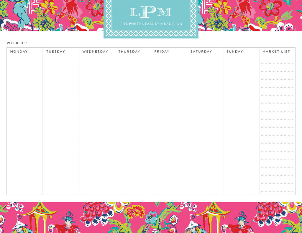 Peony Chinoiserie Personalized Meal Planner Pad