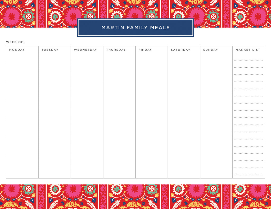 Red Suzani Personalized Meal Planner Pad