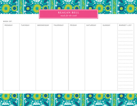 Venetian Suzani Personalized Meal Planner Pad
