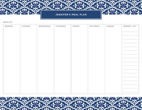 Navy Sea Floral Personalized Meal Planner Pad