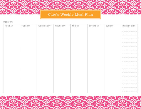 Peony Sea Floral Personalized Meal Planner Pad