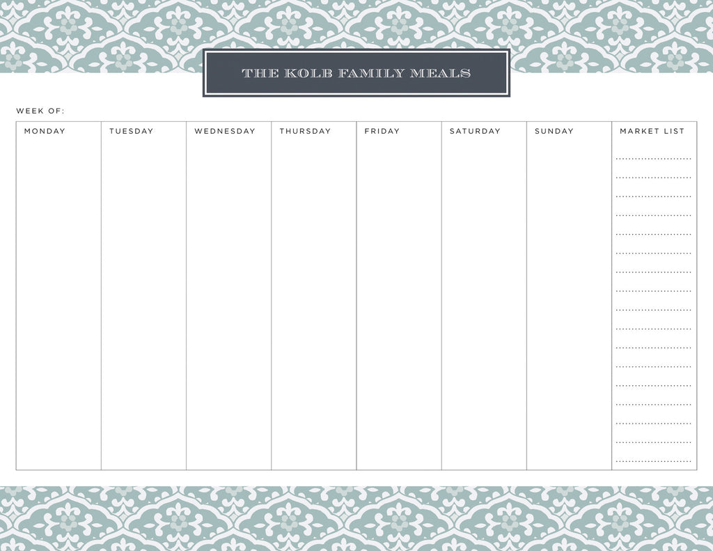 Snow Owl Sea Floral Personalized Meal Planner Pad