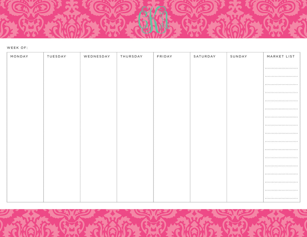 Peony Maddy Personalized Meal Planner Pad