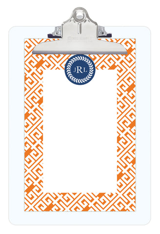 Pumpkin Greek Key Personalized Note Sheets on Acrylic Clipboard