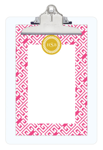 Peony Greek Key Personalized Note Sheets on Acrylic Clipboard
