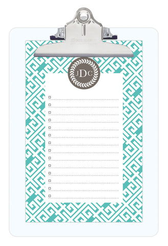 Aqua Sky Greek Key Personalized Note Sheets on Acrylic Clipboard