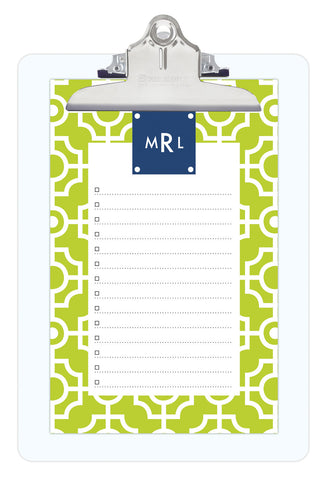 Lime Lattice Personalized Note Sheets on Acrylic Clipboard