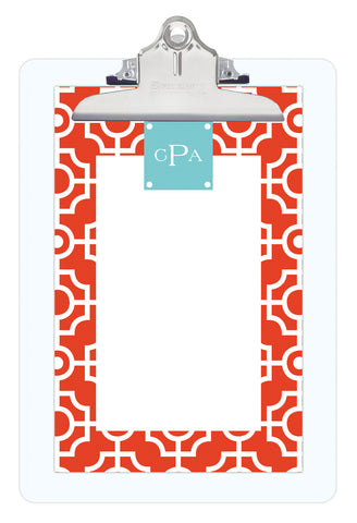 Fire Lattice Personalized Note Sheets on Acrylic Clipboard