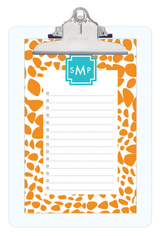 Orange Lizard Personalized Note Sheets on Acrylic Clipboard