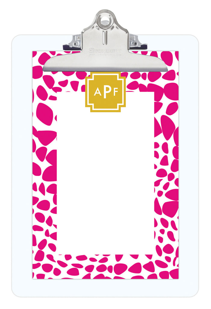 Bright Pink Lizard Personalized Note Sheets on Acrylic Clipboard