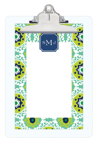 Jade Modern Suzani Personalized Note Sheets on Acrylic Clipboard