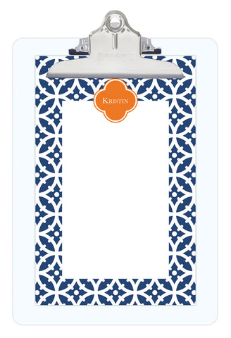 Navy Bloom Personalized Note Sheets on Acrylic Clipboard