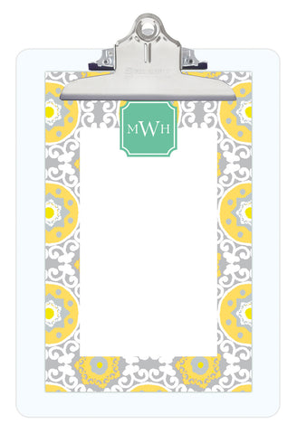 Lemon Modern Suzani Personalized Note Sheets on Acrylic Clipboard