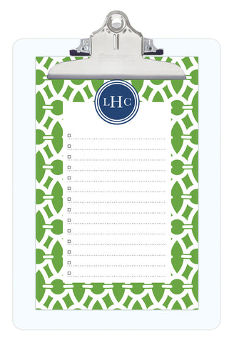 Basil Trellis Personalized Note Sheets on Acrylic Clipboard