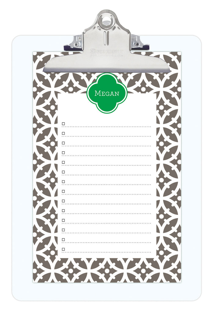 Smoke Bloom Personalized Note Sheets on Acrylic Clipboard
