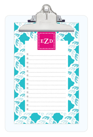 Nautical Blue Nautical Personalized Note Sheets on Acrylic Clipboard