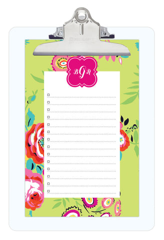 Green Peyton Personalized Note Sheets on Acrylic Clipboard