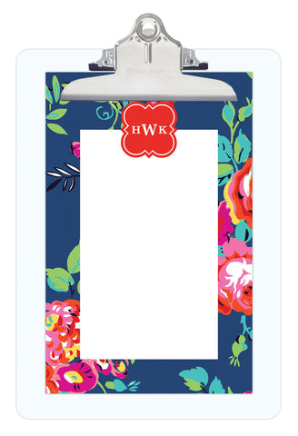 Navy Peyton Personalized Note Sheets on Acrylic Clipboard