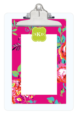 Bright Pink Peyton Personalized Note Sheets on Acrylic Clipboard