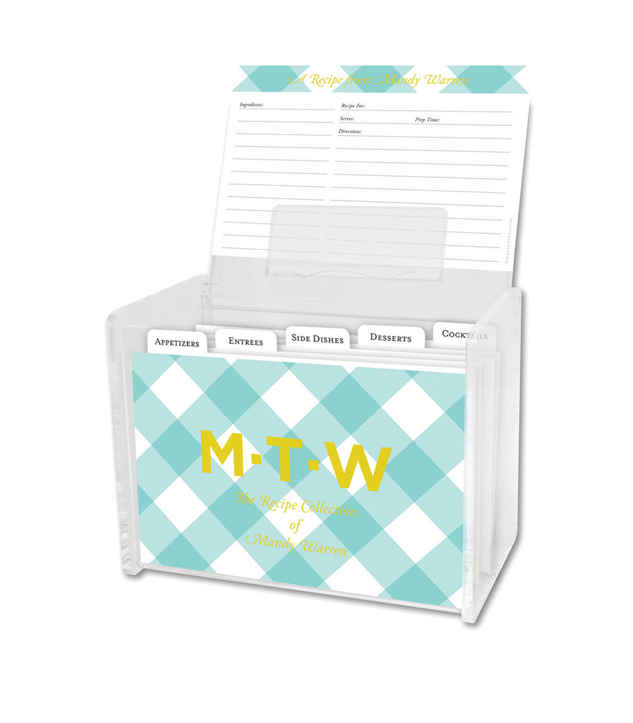 Mint Buffalo Check Lucite Recipe Box & 48 Recipe Cards