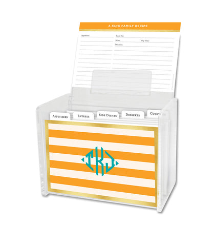 Clementine Classic Stripe Lucite Recipe Box & 48 Recipe Cards