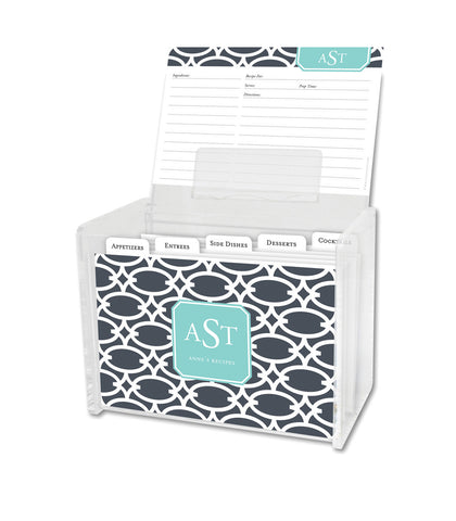 Charcoal Fretwork Lucite Recipe Box & 48 Recipe Cards