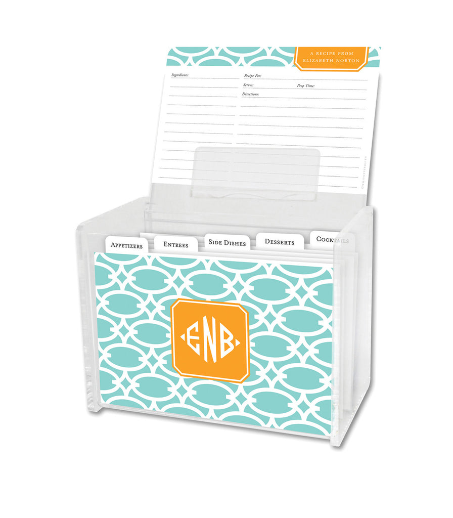 Mint Fretwork Lucite Recipe Box & 48 Recipe Cards