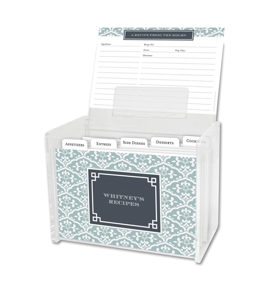 Snow Owl Sea Floral Lucite Recipe Box & 48 Recipe Cards