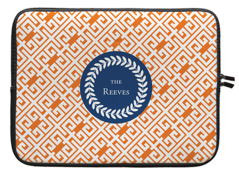 "Pumpkin Greek Key Personalized Laptop Sleeve - 13"" or 15"""