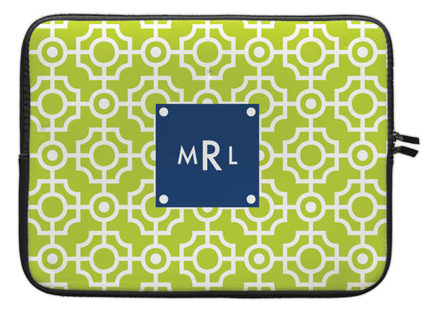 "Lime Lattice Personalized Laptop Sleeve - 13"" or 15"""
