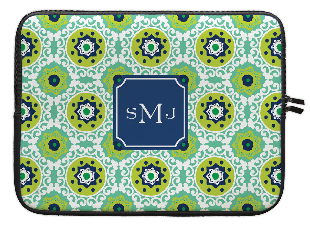 "Jade Modern Suzani Personalized Laptop Sleeve - 13"" or 15"""