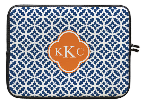 "Navy Bloom Personalized Laptop Sleeve - 13"" or 15"""