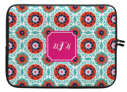 "Fire Modern Suzani Personalized Laptop Sleeve - 13"" or 15"""
