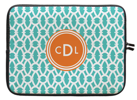 "Aqua Sky Trellis Personalized Laptop Sleeve - 13"" or 15"""