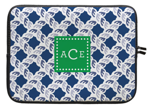 "Navy Nautical Personalized Laptop Sleeve - 13"" or 15"""