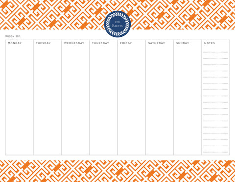 Pumpkin Greek Key Personalized Weekly Planner Pad