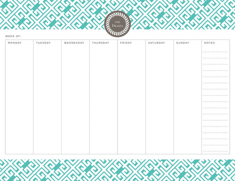 Aqua Sky Greek Key Personalized Weekly Planner Pad