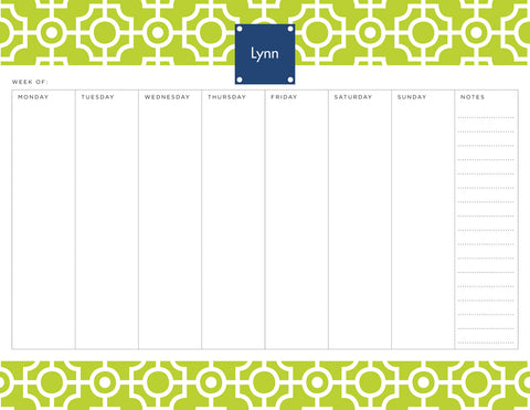 Lime Lattice Personalized Weekly Planner Pad