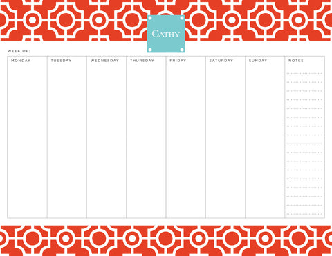 Fire Lattice Personalized Weekly Planner Pad