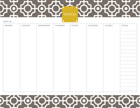 Smoke Lattice Personalized Weekly Planner Pad