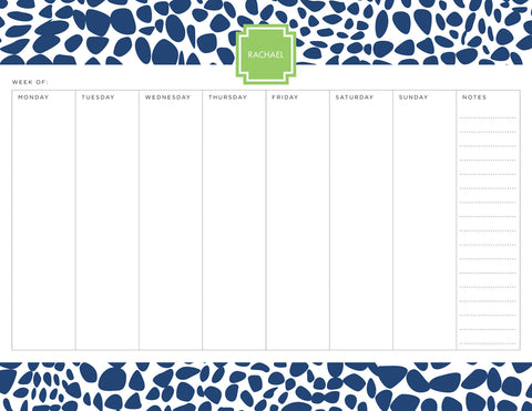 Navy Lizard Personalized Weekly Planner Pad