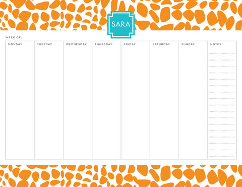 Orange Lizard Personalized Weekly Planner Pad