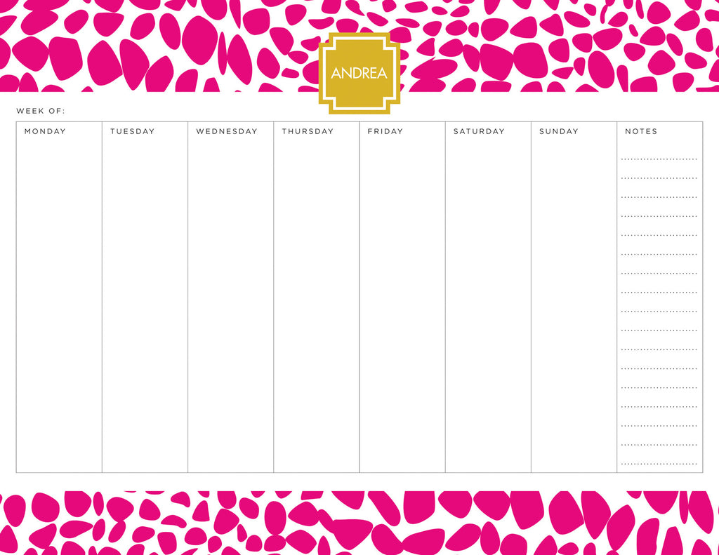 Bight Pink Lizard Personalized Weekly Planner Pad