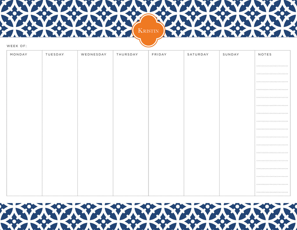 Navy Bloom Personalized Weekly Planner Pad