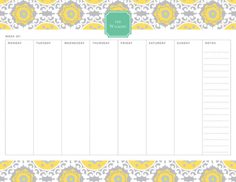 Lemon Modern Suzani Personalized Weekly Planner Pad